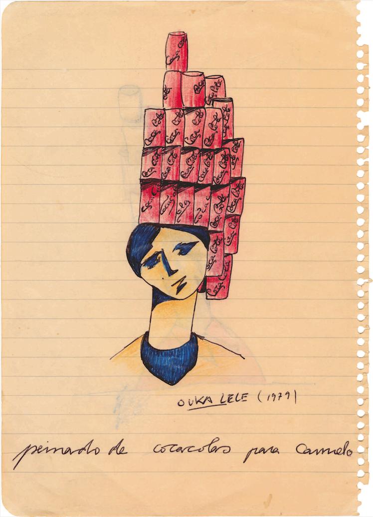 Ouka Leele.Bocetos, fotos e ideas: Peinado de cocacolas para Carmelo, 1979 © Ouka Leele. VEGAP, Madrid, 2021